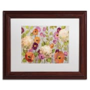 "Trademark Fine Art WAP0129-W-MF ""Hydrangeas and Anemones"" by Silvia Vassileva Framed Art, White Matted"