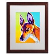 """Trademark Fine Art ALI0580-W1620MF """"Pharoah Hound Linus"""" by DawgArt 20"""" x 16"""" Framed Art, White Matted"""