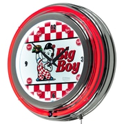 "Trademark Global Bobs Big Boy AR1400-BOB-C 14.5"" Red Double Ring Neon Clock, Checkered"
