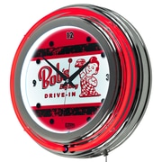 "Trademark Global Bobs Big Boy AR1400-BOB-V 14.5"" Red Double Ring Neon Clock, Vintage"