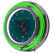 "Trademark Global VAF VAF1400-SB 14.5"" Green Double Ring Neon Clock, Seattle Bombers"