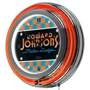 "Trademark Global Howard Johnson AR1400-HOJO-C 14.5"" Orange Double Ring Neon Clock, Checkered"