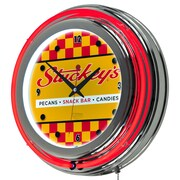 "Trademark Global Stuckeys AR1400-STUC-C 14.5"" Yellow Double Ring Neon Clock, Checkered"