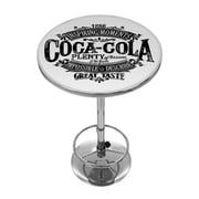 "Trademark Fine Art Coca-Cola Brazil COKE-2000-BZ1 42"" Metal Chrome 1886 Vintage Logo Pub Table"