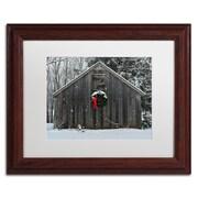 """Trademark Fine Art KS0161-W1114MF """"Christmas Barn in the Snow"""" by Kurt Shaffer 11"""" x 14"""" Framed Art, White Matted"""