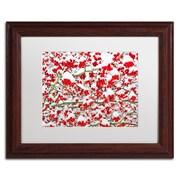 """Trademark Fine Art KS0190-W1114MF """"inter Berries in the Snow"""" by Kurt Shaffer 11"""" x 14"""" Framed Art, White Matted"""