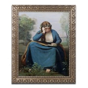 "Trademark Fine Art BL0435-G1620F ""The Reader with Flowers"" by Jean Baptiste Corot 20"" x 16"" Framed Art"