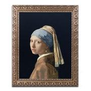 "Trademark Fine Art BL0613-G1620F ""Girl with a Pearl Earring"" by Jan Vermeer 20"" x 16"" Framed Art"