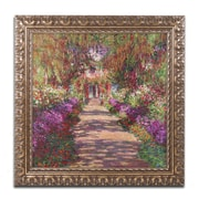 "Trademark Fine Art BL01173-G1616F ""A Pathway in Monet's Garden"" by Claude Monet 16"" x 16"" Framed Art"