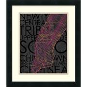 Amanti Art 'Neon Map II' Framed Art Print