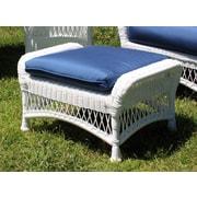 ElanaMar Designs Princeton Ottoman w/ Cushion; Green White Stripe