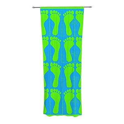 KESS InHouse Footprints Curtain Panels (Set of 2); Green/Blue/Aqua WYF078277545341