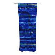 KESS InHouse Squares Traffic Curtain Panels (Set of 2); Blue