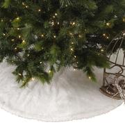 Saro Faux Fur Design White Holiday Christmas Tree Skirt