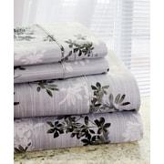Hotel New York Park Avenue 350 Thread Count 4 Piece Cotton Rich Plum Flower Printed Sheet Set; Queen