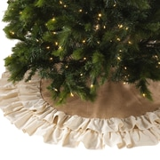 Saro Cotton Jute Ruffled Tree Skirt
