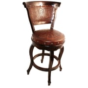 New World Trading Colonial Swivel Bar Stool with Cushion; Rustic