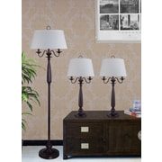 Fangio 3 Piece Traditional Table Lamp and Floor Lamp Set with Empire Shade; Antique Brown