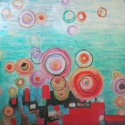 Yosemite Home Decor Revealed Art Bright Bubbles Original Painting on Wrapped Canvas