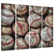 ArtWall 'Baseballs' by David Liam Kyle 4 Piece Photographic Print Gallery-Wrapped on Canvas Set