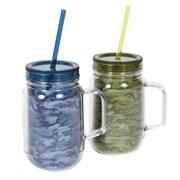 DEI Woodland River Camo Double Insulated 16 Oz. Mason Jar Lid and Straw (Set of 2)