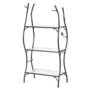 Stone County Ironworks Sassafras 3-Tier Double Width Standing Glass Shelf 55'' Etagere Bookcase