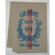 Lowcountry Linens Grains Kitchen Towel; Blue/Red on Natural