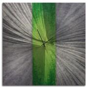 Metal Art Studio Stripe Metal Wall Clock; Green