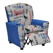 KidzWorld Mixy Sports Suede Kids Recliner with Cup Holder