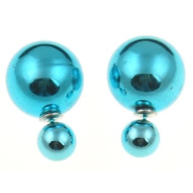 Double Sided Pearl Stud Earrings, Shiny Teal