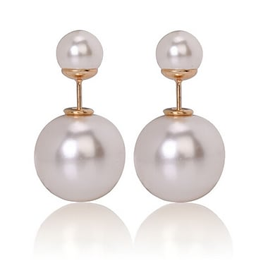 Double Sided Pearl Stud Earrings, Shiny White