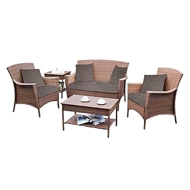 W Unlimited Outdoor Patio Furniture, W Unlimited Collection 5-Piece Set, Neutral Brown
