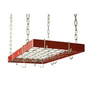 Rogar Custom Rectangle Ceiling Mount Pot Rack w/ Grid; Red/Chrome