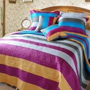 DaDa Bedding Suburban Stripes Quilt Set; King