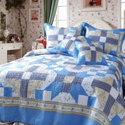 DaDa Bedding Abstract Star 3 Piece Twin Quilt Set