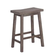 "Boraam 24"" Sonoma Solid Hardwood Saddle Stool, Gray Wire-Brush"