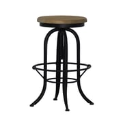 Boraam Lockport Iron/Oak Swivel Stool, Black/Natural