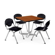 "OFM PKG-BRK-019-0001 36"" Square Laminate Multi-Purpose Table with 4 Chairs, Cherry Table/Black Chair"