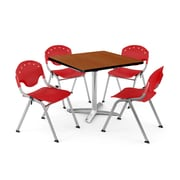 "OFM PKG-BRK-019-0002 36"" Square Laminate Multi-Purpose Table with 4 Chairs, Cherry Table/Red Chair"
