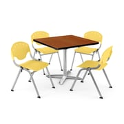 "OFM PKG-BRK-020-0004 42"" Square Laminate Multi-Purpose Table with 4 Chairs, Cherry Table/Lemon Yellow Chair"