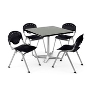 "OFM PKG-BRK-019-0007 36"" Square Laminate Multi-Purpose Table with 4 Chairs, Gray Nebula Table/Black Chair"