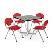 "OFM PKG-BRK-019-0008 36"" Square Laminate Multi-Purpose Table with 4 Chairs, Gray Nebula Table/Red Chair"