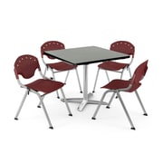 "OFM PKG-BRK-019-0009 36"" Square Laminate Multi-Purpose Table with 4 Chairs, Gray Nebula Table/Burgundy Chair"