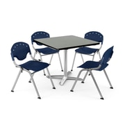 "OFM PKG-BRK-020-0011 42"" Square Laminate Multi-Purpose Table with 4 Chairs, Gray Nebula Table/Navy Chair"