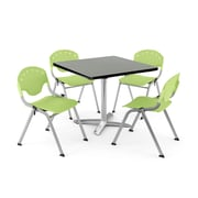 "OFM PKG-BRK-019-0012 36"" Square Laminate Multi-Purpose Table with 4 Chairs, Gray Nebula Table/Green Chair"