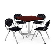 "OFM PKG-BRK-019-0013 36"" Square Laminate Multi-Purpose Table with 4 Chairs, Mahogany Table/Black Chair"