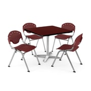 "OFM PKG-BRK-019-0015 36"" Square Laminate Multi-Purpose Table with 4 Chairs, Mahogany Table/Burgundy Chair"