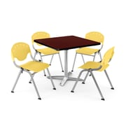 "OFM PKG-BRK-020-0016 42"" Square Laminate Multi-Purpose Table with 4 Chairs, Mahogany Table/Lemon Yellow Chair"