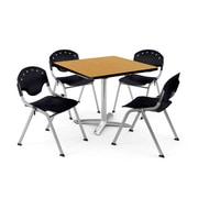 "OFM PKG-BRK-019-0019 36"" Square Laminate Multi-Purpose Table with 4 Chairs, Oak Table/Black Chair"