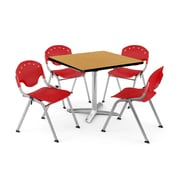"OFM PKG-BRK-019-0020 36"" Square Laminate Multi-Purpose Table with 4 Chairs, Oak Table/Red Chair"